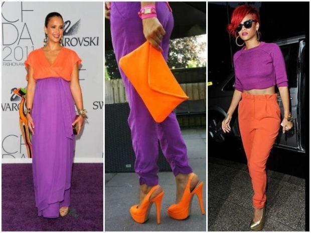 фиолетовые вещи под оранжевое