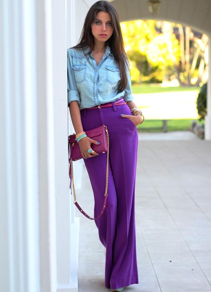 брюки фиолетовые под рубашку катоновую