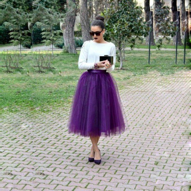 юбка фиолетовая пачка под белую кофту