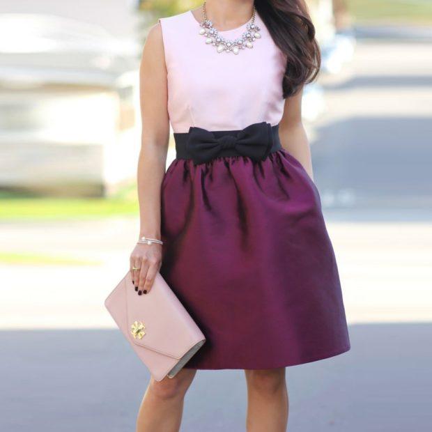 юбка фиолетовая с бантом под розовую майку