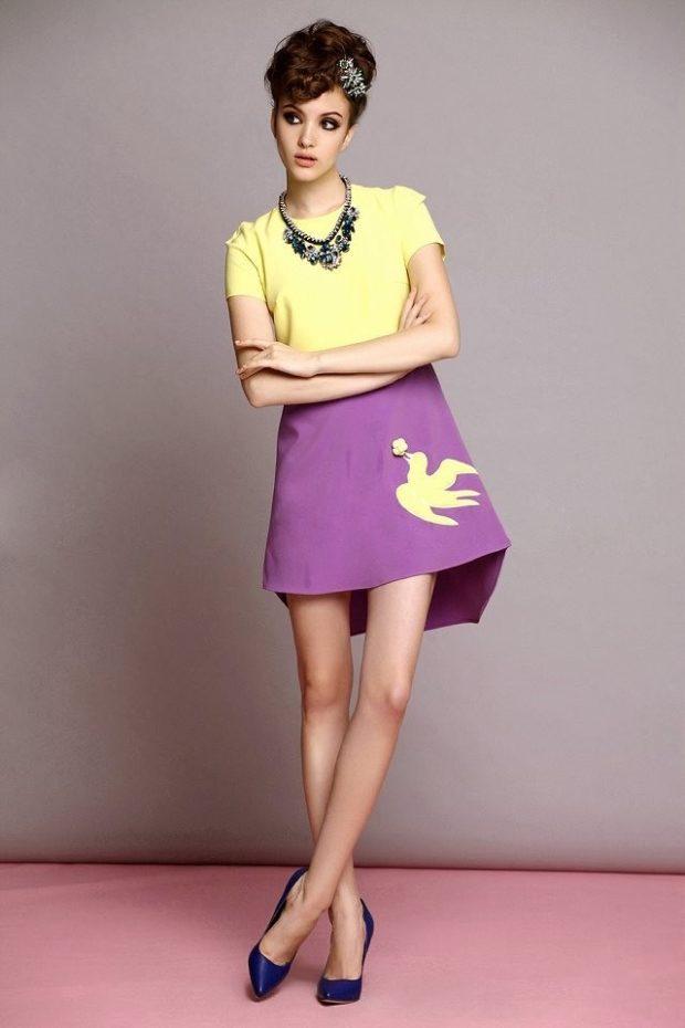 юбка фиолетовая с желтым пятном под желтую футболку