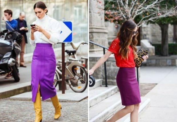 юбка фиолетовая карандаш под блузку белую блузку красную