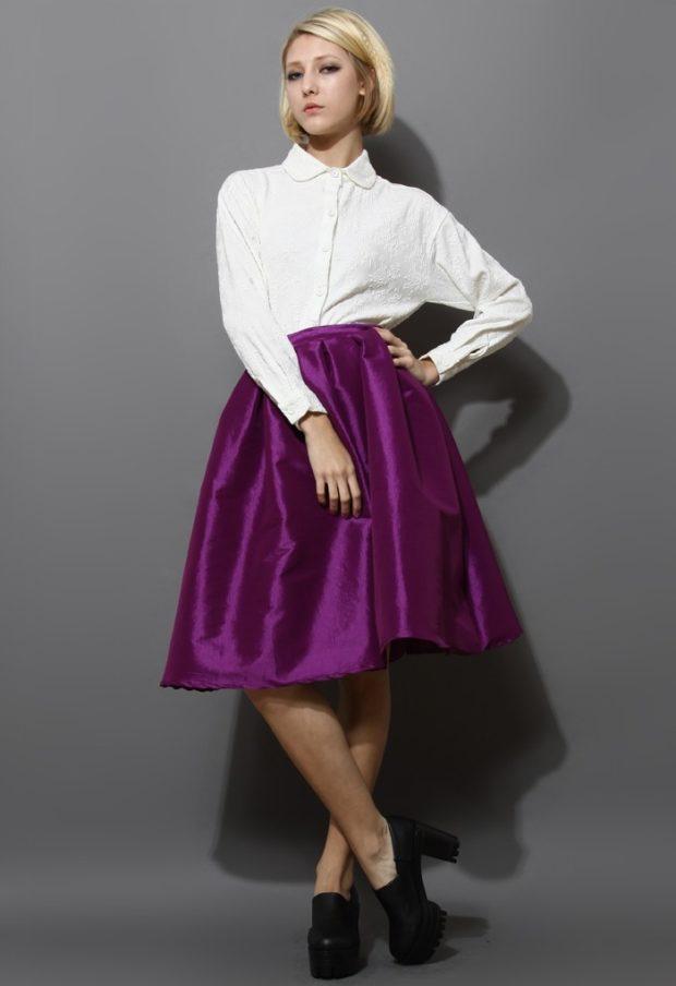 юбка фиолетовая солнце по колено под рубашку белую