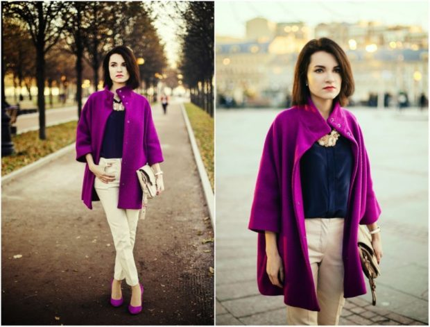 пальто фиолетовое рукав 3/4 под белые штаны