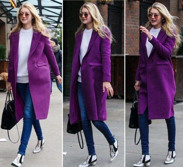 пальто миди фиолетовое под джинсы