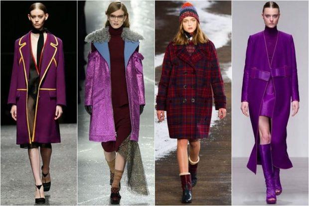 фиолетовое пальто по колено под платья длинное под платье и сапоги в тон