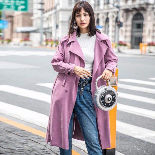 фиолетовое пальто светлое под джинсы