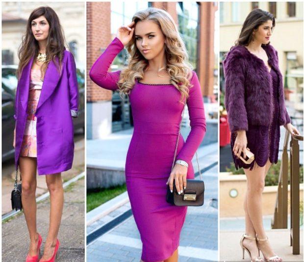 фиолетовый плащ под платье фиолетовое платье фиолетовая шубка под платье в тон