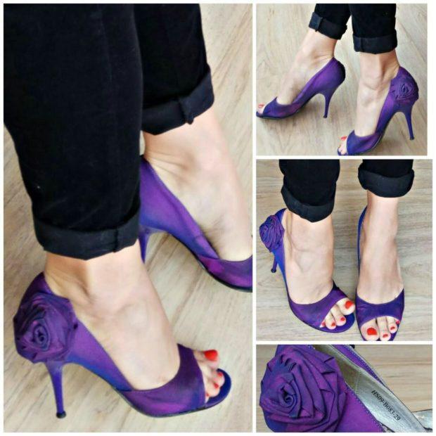 Фиолетовые туфли на каблуке носок открытый цветок на пятке