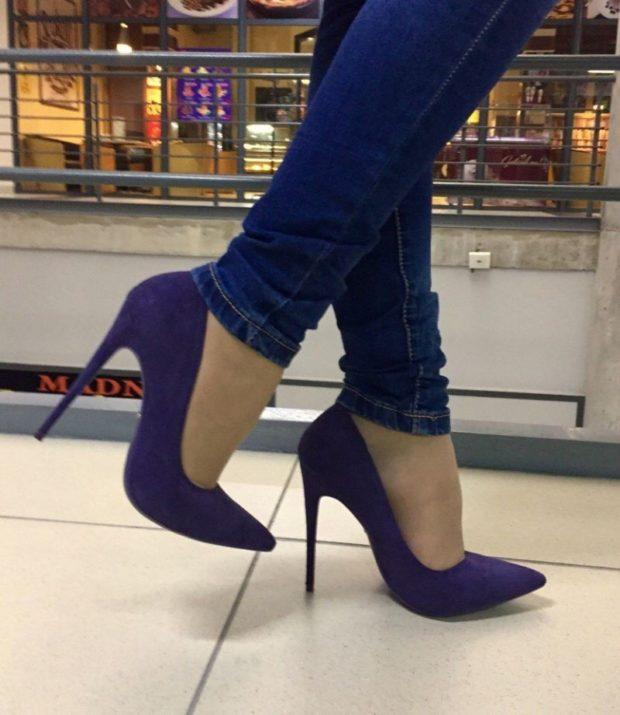 Фиолетовые туфли на каблуке замша под джинсы