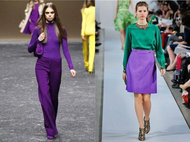 фиолетовый костюм фиолетовая юбка под зеленую кофту