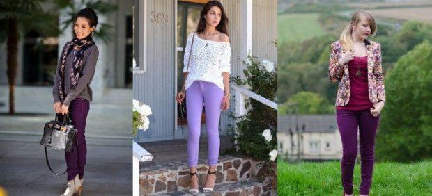фиолетовые брюки под свитера коричневый белый под жакет