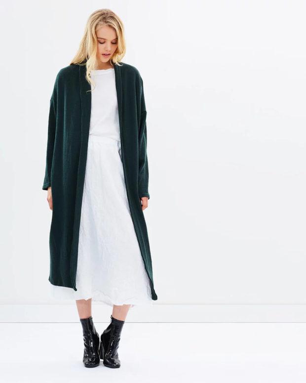 пальто кардиган: зеленое длинное