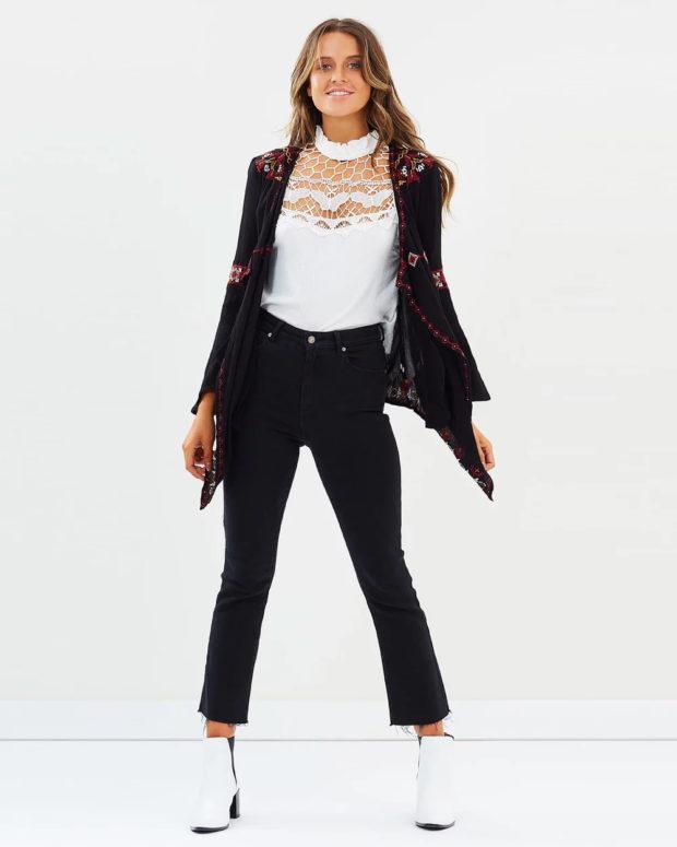 пальто кардиган: асимметрия черное с узорами