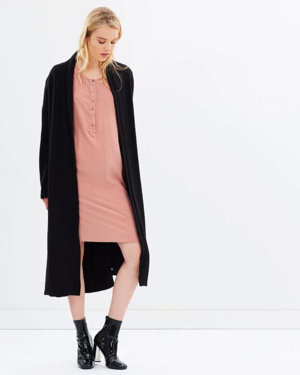 пальто кардиган: черное длинное