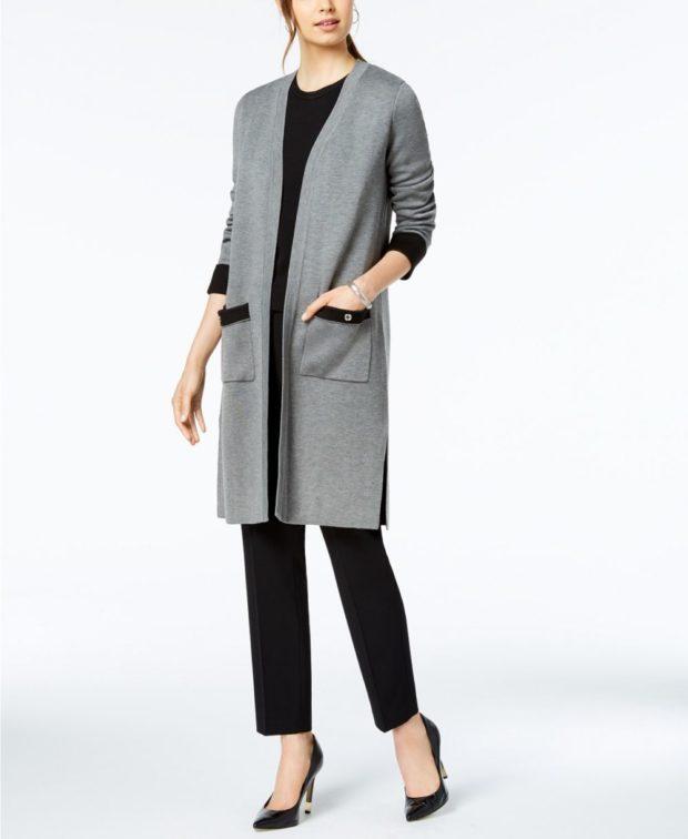 пальто кардиган: серый с карманами