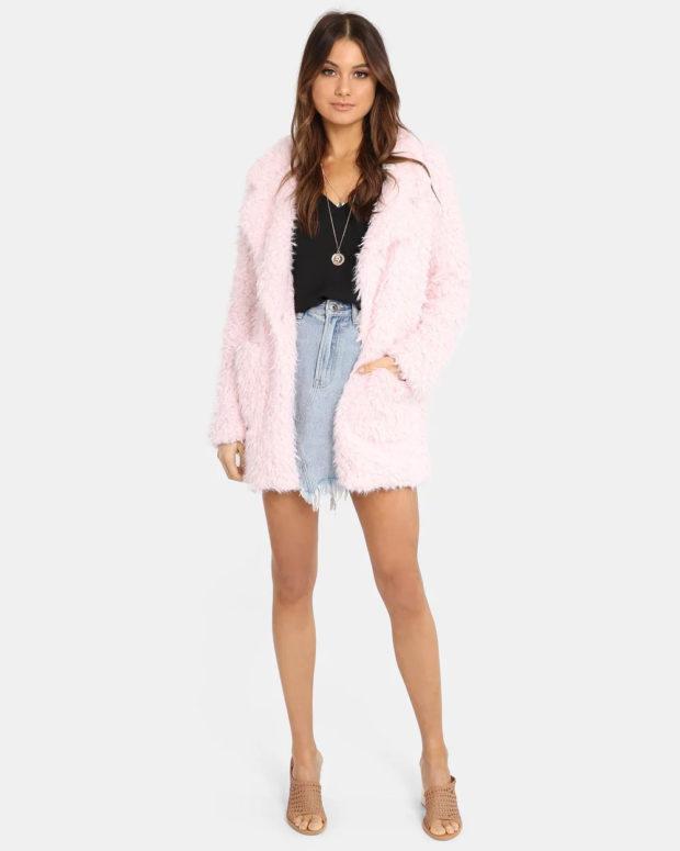 пальто кардиган: розовое меховое