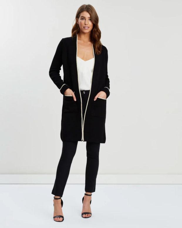 пальто кардиган: черное белые полосы