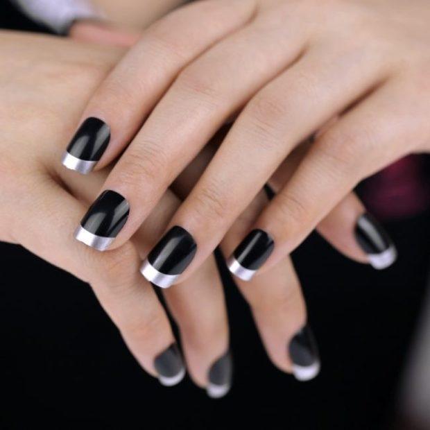 французский маникюр черная основа край серебро