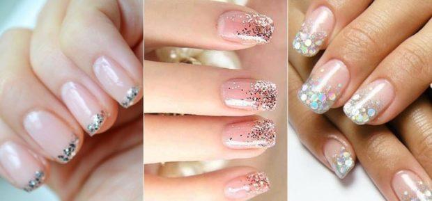 Маникюр с блестками 2017 фото дизайн ногтей новинки