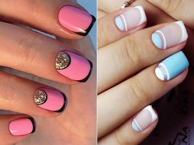 Лунный френч розовый с черным с камушками голубой с белым