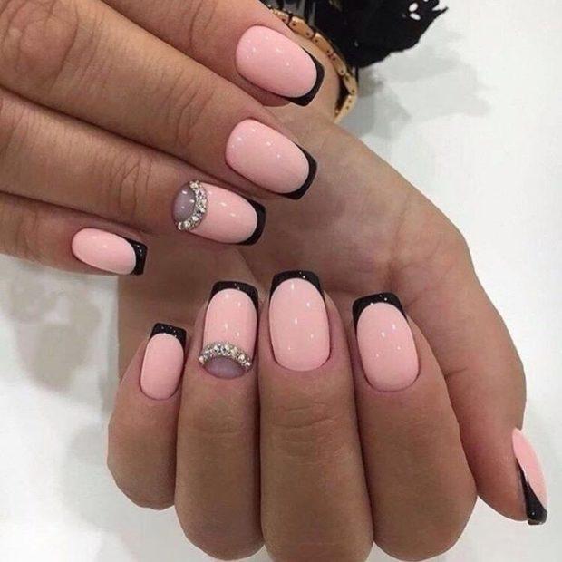 нео-френч розовый с черным