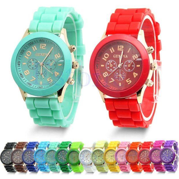 модные часы женские 2019-2020 наручные: яркие женские каучуковые ремень