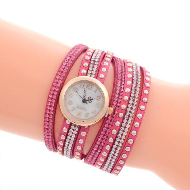 модные женские часы: с многослойным браслетом с бусинками