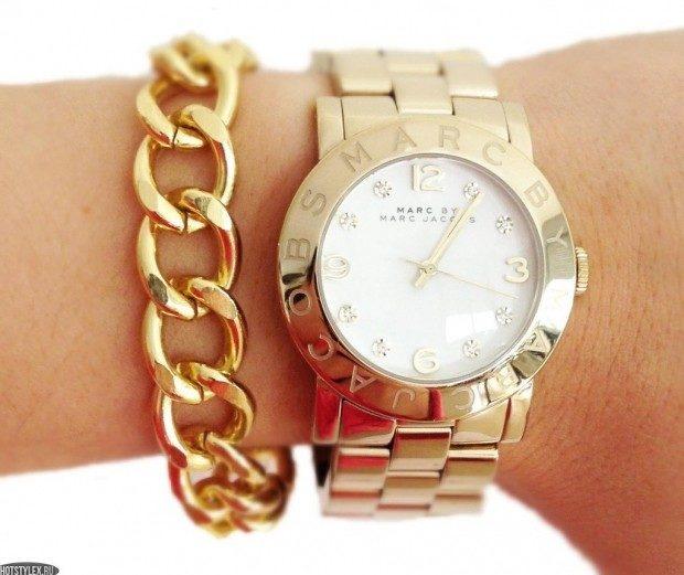 женские часы: золотые ремень металл