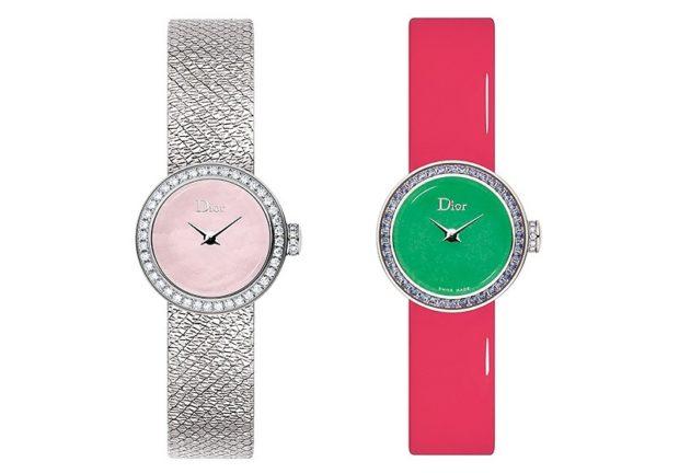 модные женские часы: маленькие серебристые розовый ремешок с зеленым циферблатом