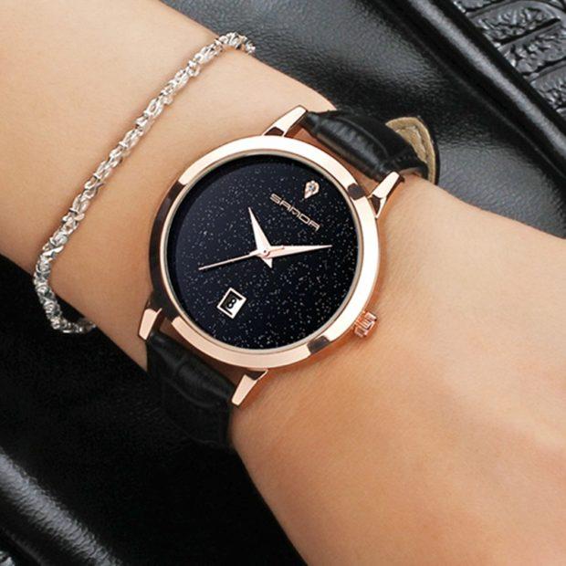 женские часы: черные кожаный ремень без цифр