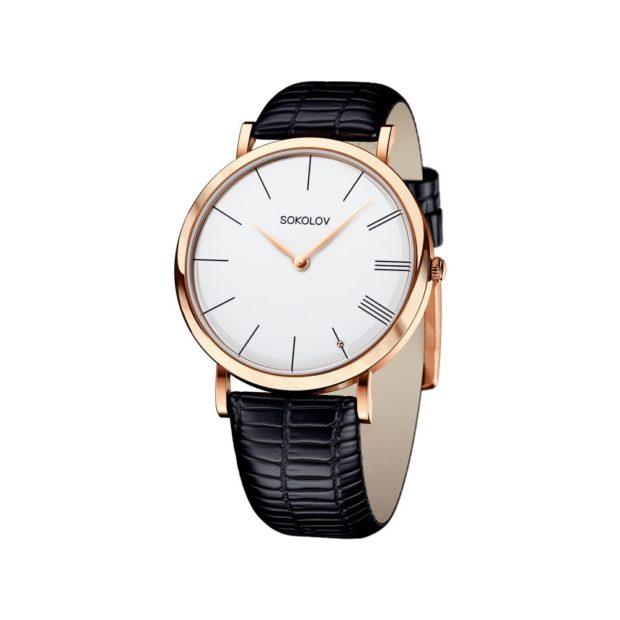 Классические женские часы черный кожаный ремень золотой циферблат