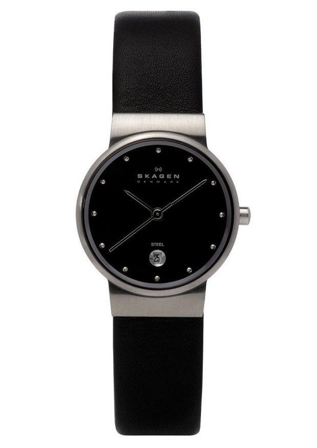 Классические женские часы черные с камешками вместо цифр