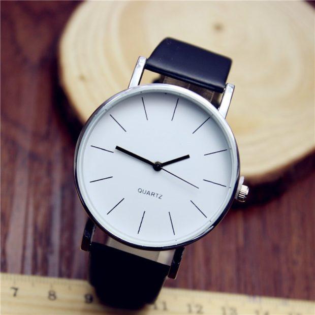 Классические женские часы черный ремень без цифр