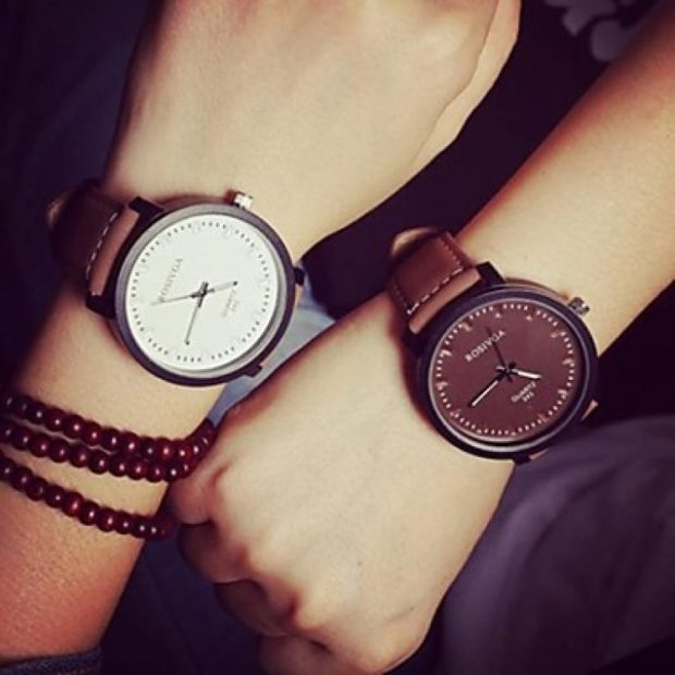 модные женские часы: унисекс круглые кожаный ремень без цифр