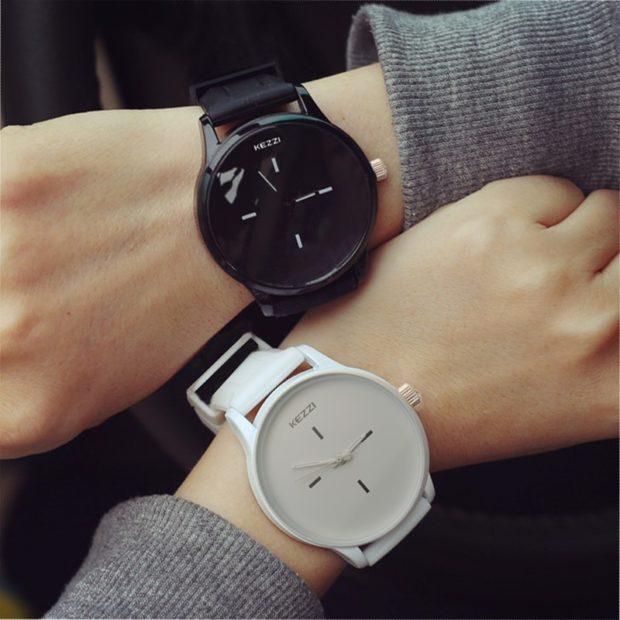 модные женские часы: унисекс черные белые без цифр