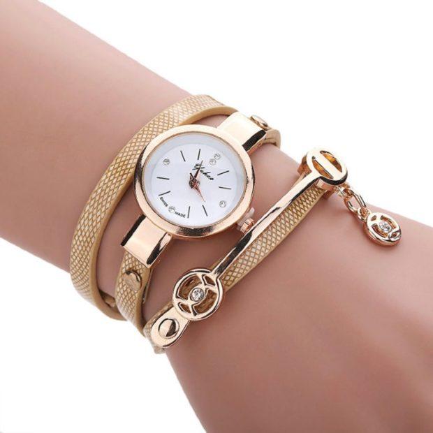 часы 2018 женские золотые с длинным ремнем и аксессуарами