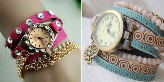 модные женские часы: с круглым циферблатом и камнями розовый ремешок с камнями