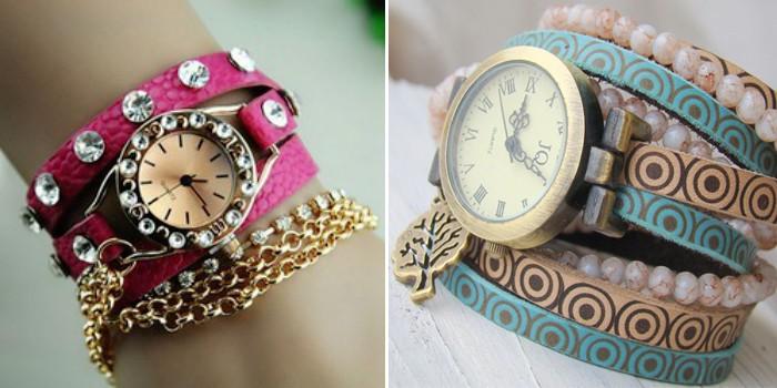 часы с круглым циферблатом и камнями,розовый ремешок с камнями, длинный ремешок