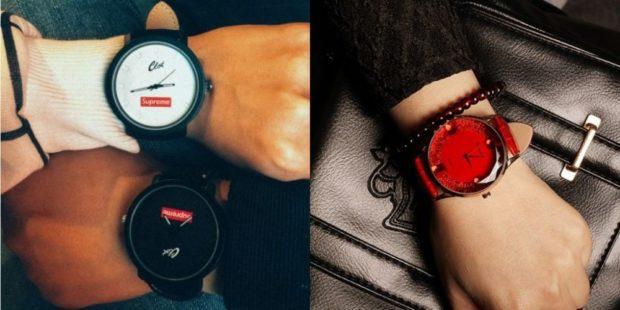 модные женские часы: с круглым циферблатом и черным кожаным ремешком