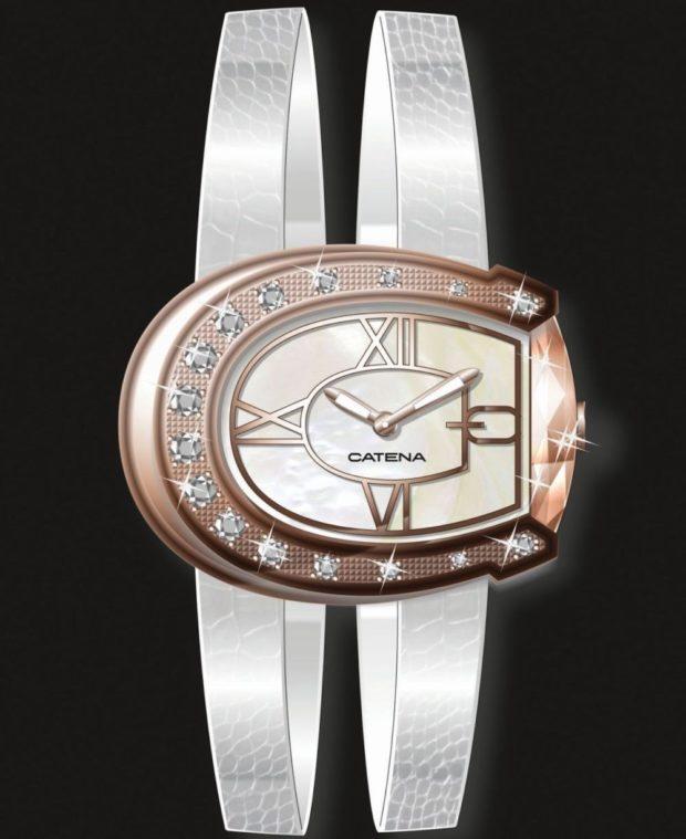 модные женские часы: с циферблатом форме месяца и кожаным ремнем серебристого цвета