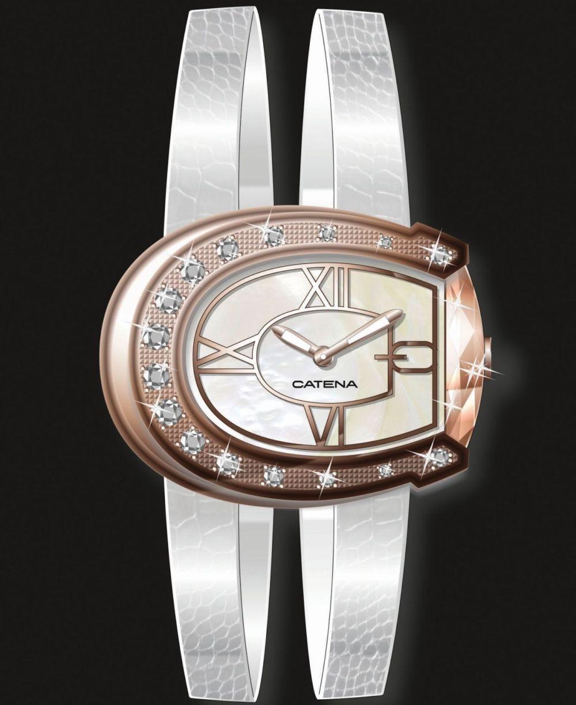 часы с циферблатом форме месяца и кожаным ремнем серебристого цвета