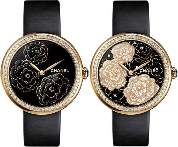 модные женские часы 2019-2020 года: с круглым циферблатом с камнями ремешком черного цвета