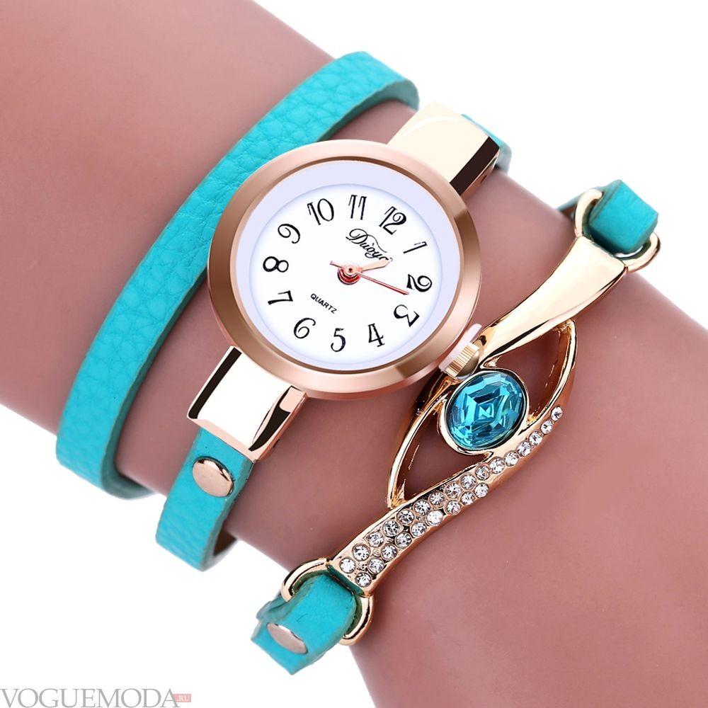 часы женские 2018 мода с круглым циферблатом и длинным бирюзовым ремешком