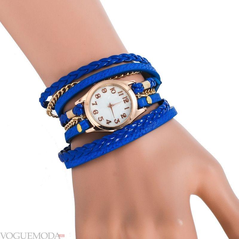 часы женские 2018 мода с круглым циферблатом и длинным синим ремешком