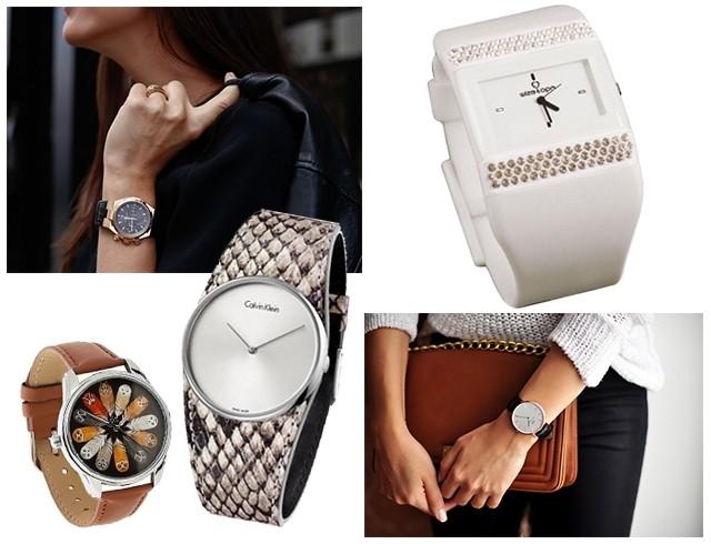 часы с круглым циферблатом и кожаным ремешком и каучуковым ремешком