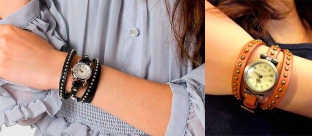 часы с круглым циферблатом и длинным ремешком коричневым и черным