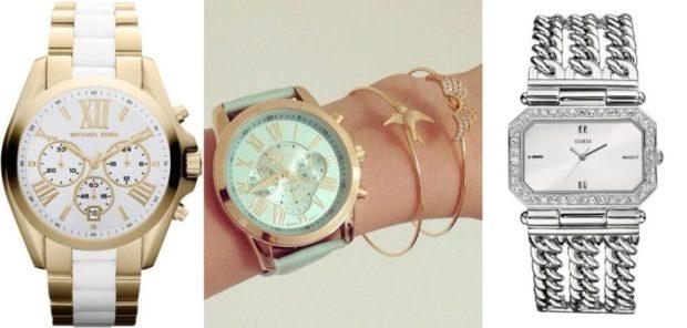 модные женские часы 2018 года: с круглым циферблатом и золотым ремешком с белой полосой