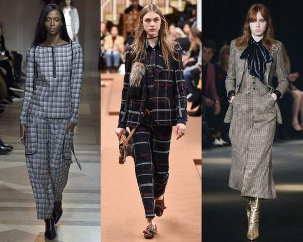 Женские костюмы 2019-2020: пиджак брюки короткие в клетку