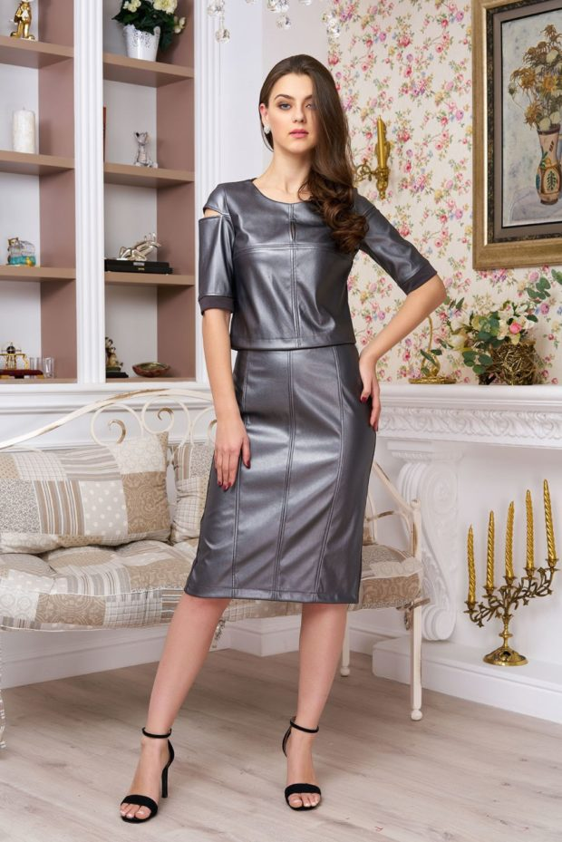 Женские костюмы 2019-2020: серый юбка кофта